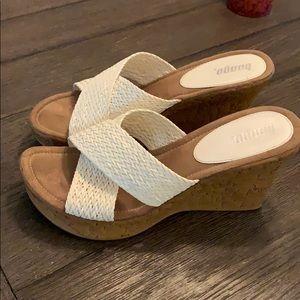 Bongo Wedge Shoes.  White Size 10.